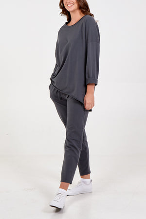 Round Neck High Low Top and Jogger Lounge Set