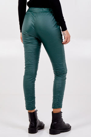 Magic Stretch PU Coated Crushed Trousers