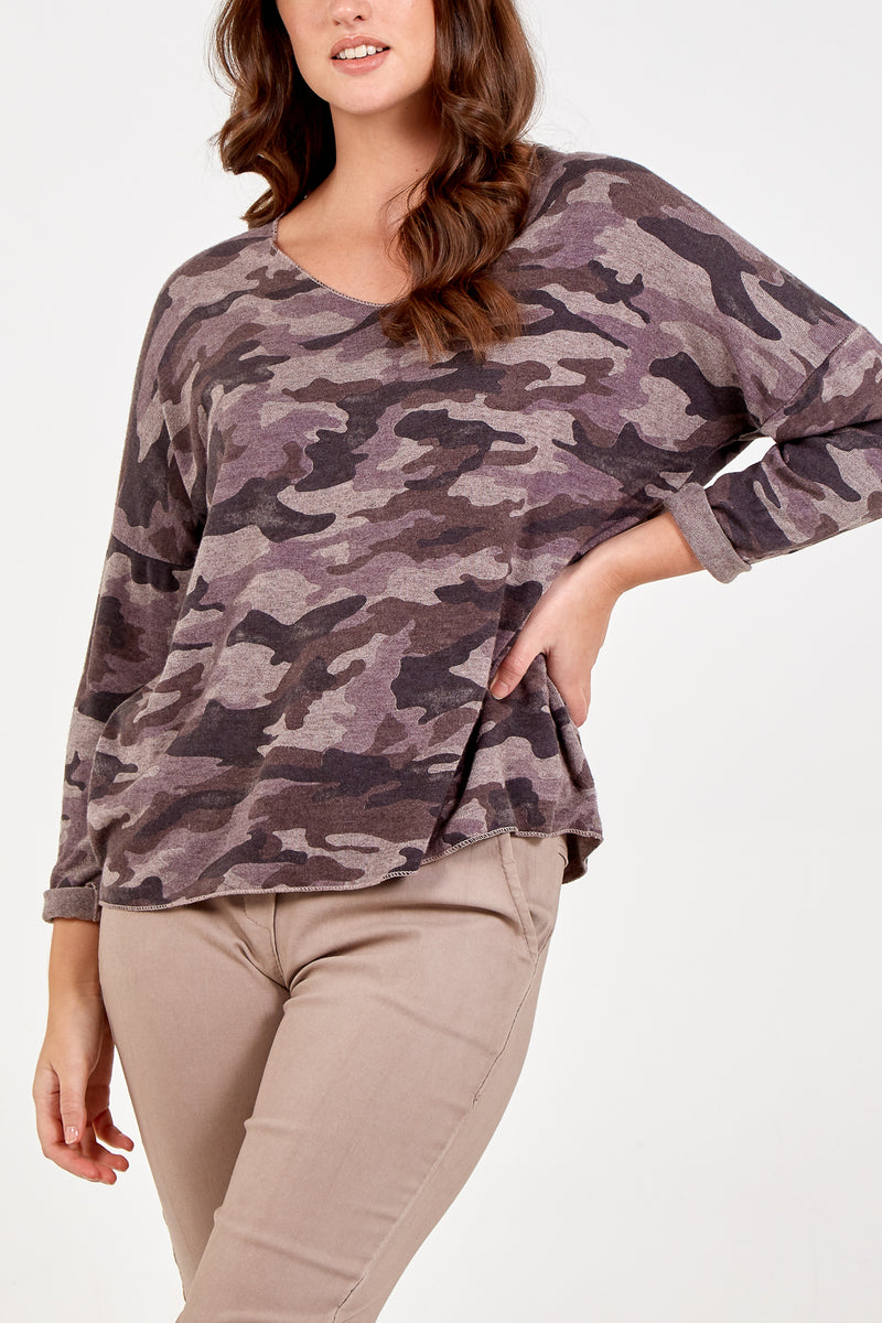 V-Neck Camouflage Print Long Sleeve Jumper