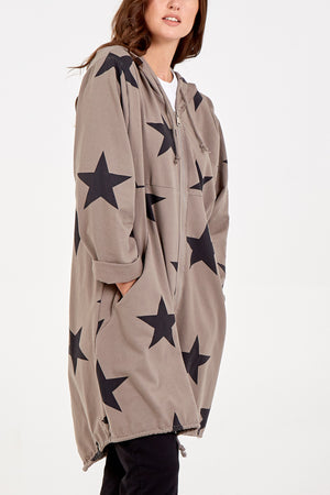 Two Pocket Star Zip Through Hooded Long Jacket