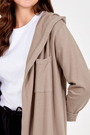 Plain Patch Pocket Hooded Long Cardigan