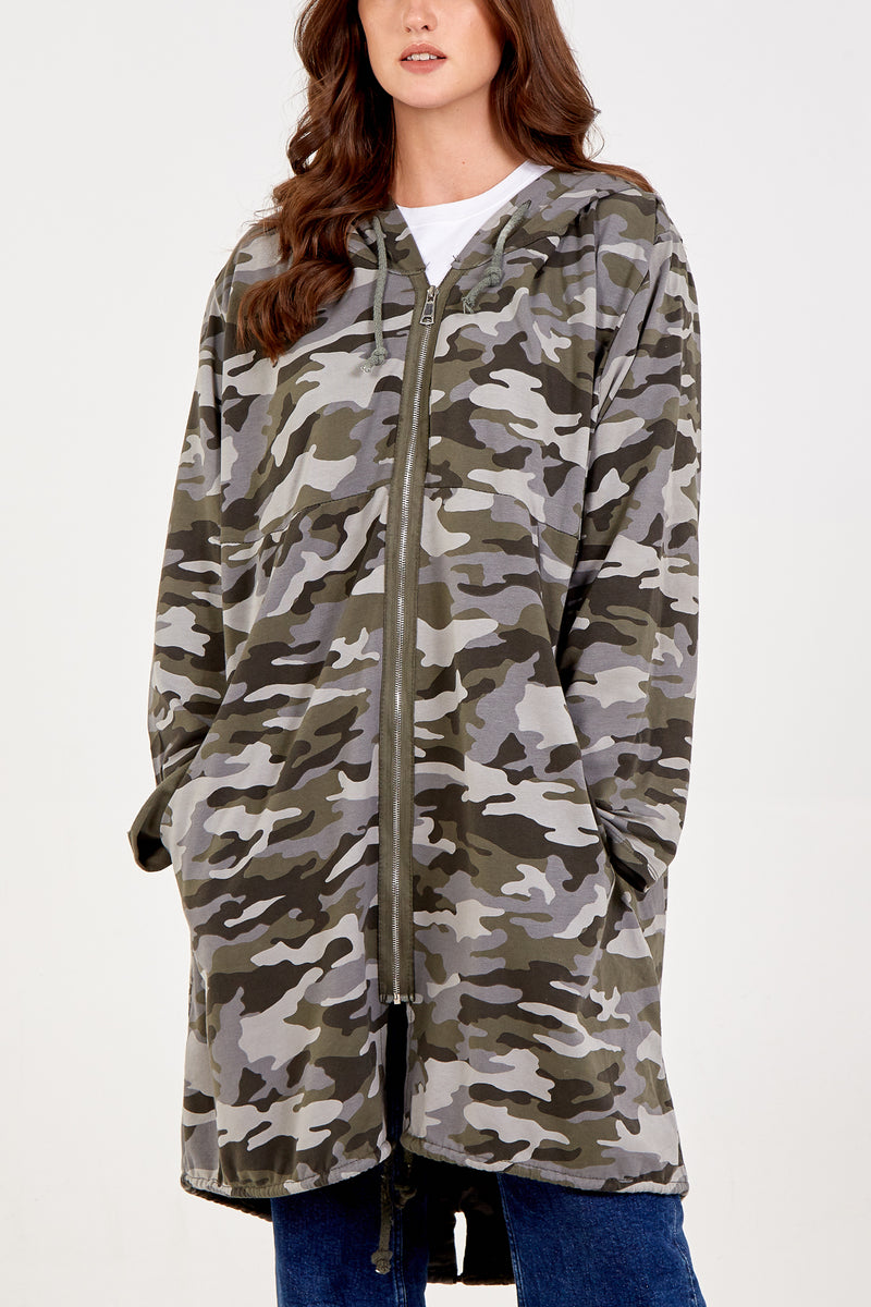 Camouflage Zip Through Two Pocket  Hooded Jacket