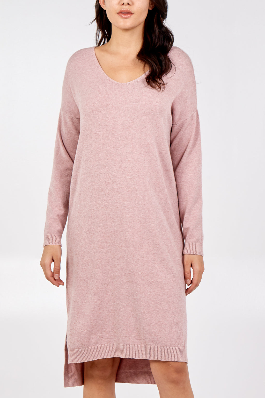 Super Soft Stretchy V Neck Knitted Dress