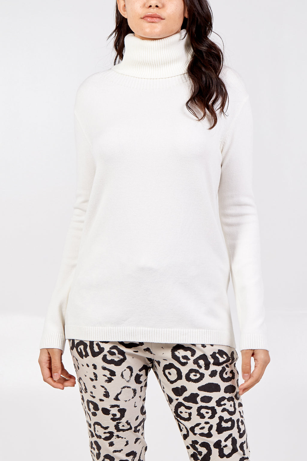 Plain Roll Neck Knit Jumper