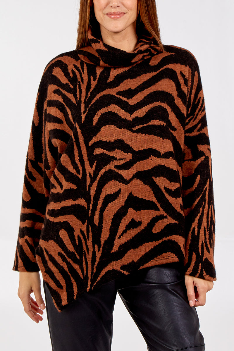 Zebra Cowl Neck Knitted Asymmetric Jumper