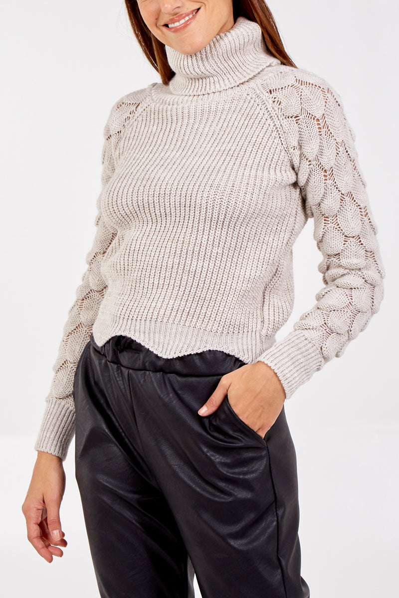 Roll Neck Tear Drop Sleeve Knitted Jumper