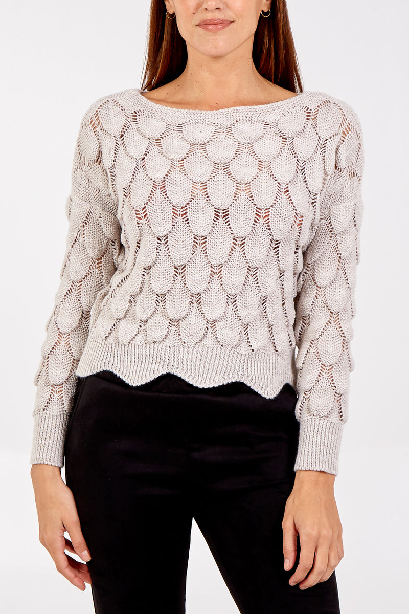 Teardrop Scallop Edge Knitted Crop Jumper