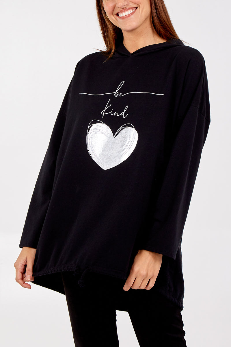 'Be Kind' Heart Sweatshirt Hoodie