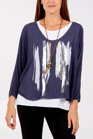 2 in 1 Abstract Necklace Long Sleeve Top