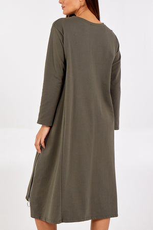 Long Sleeve Asymmetric Long Zip Dress