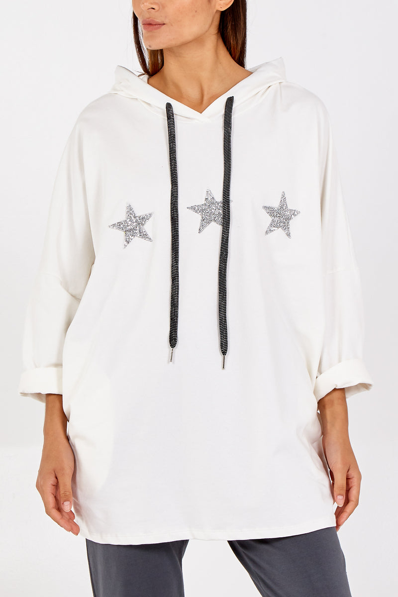 Glitter Stars Hooded Sweatshirt