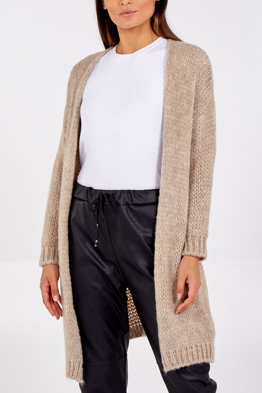 Edge To Edge Mid Length Knitted Cardigan