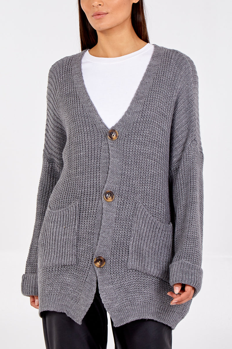 Oversized Two Pocket Knit Buttoned Cardigan