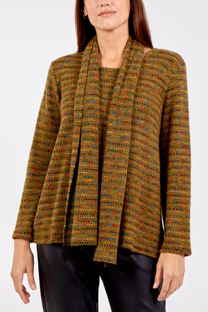 Long Sleeve Patterned Jumper With Scarf