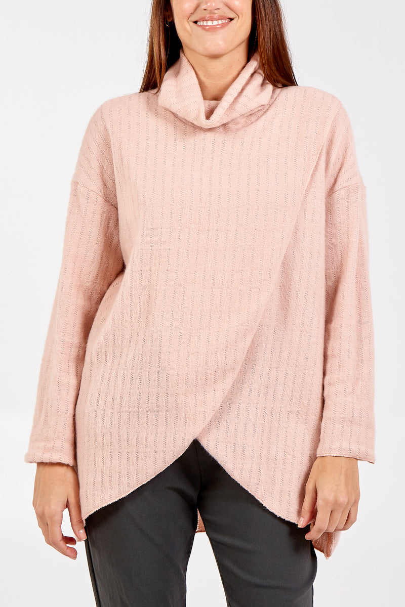 Asymmetric Tunic Cowl Neck Jumper