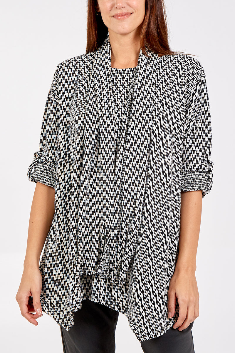 Zig-Zag Patterned Top With Scarf
