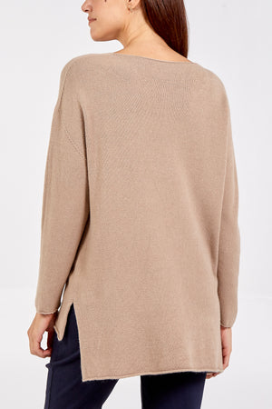 Long Sleeve V-Neck High Low Jumper