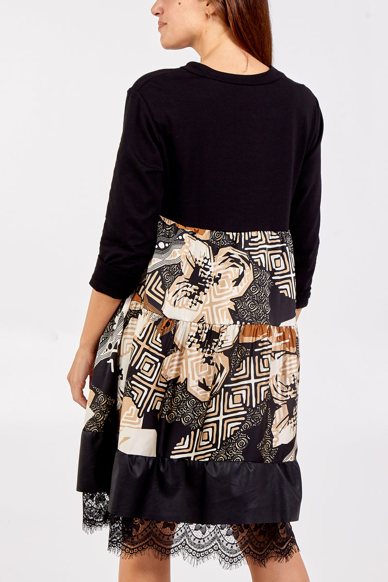 Abstract Patterned Dress With Lace Trim