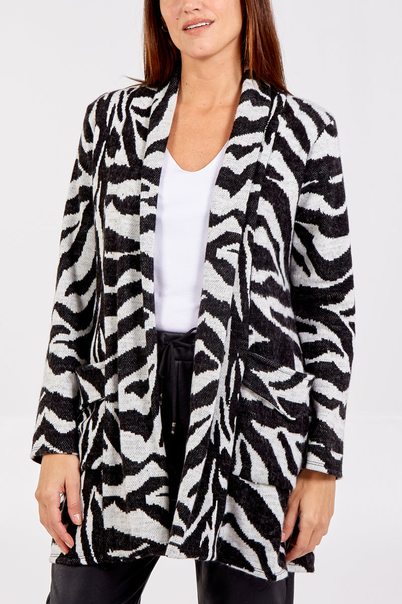 Zebra Print Cardigan With Pockets