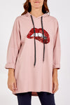 Sequin Lips Hooded Long Sweatshirt
