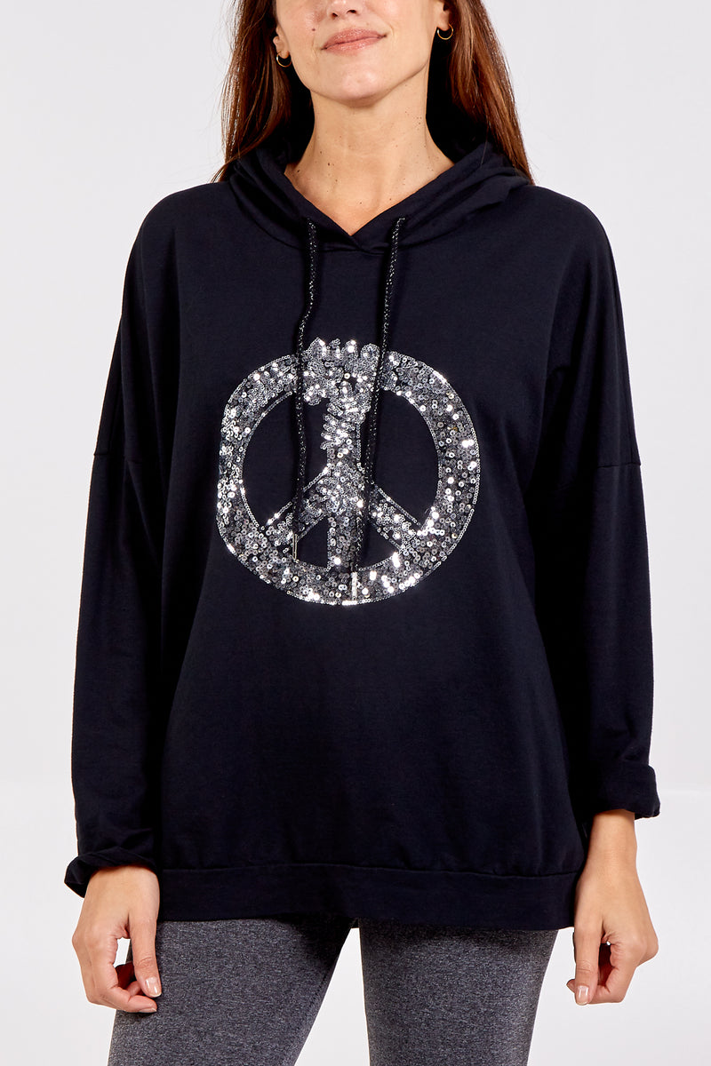 Sequin Peace Symbol Hooded Sweatshirt