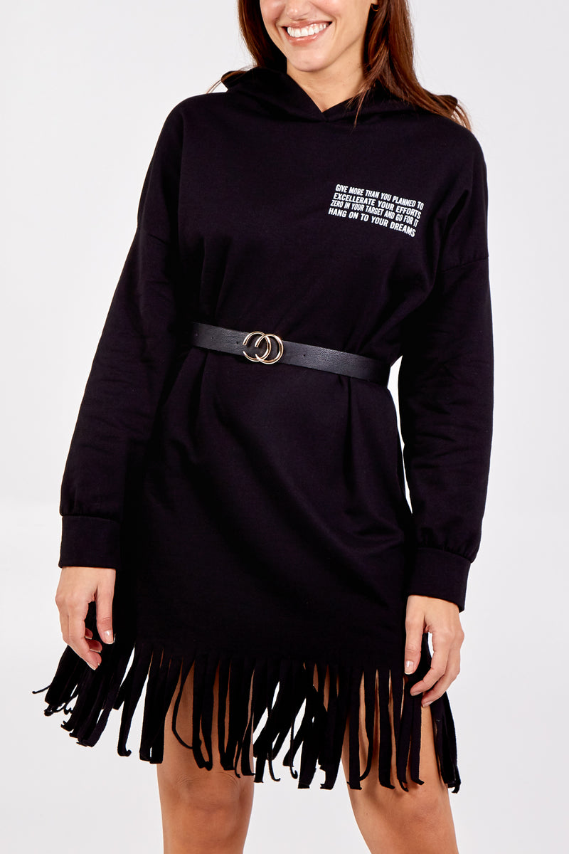 Slogan Fringe Hem Hooded Dress