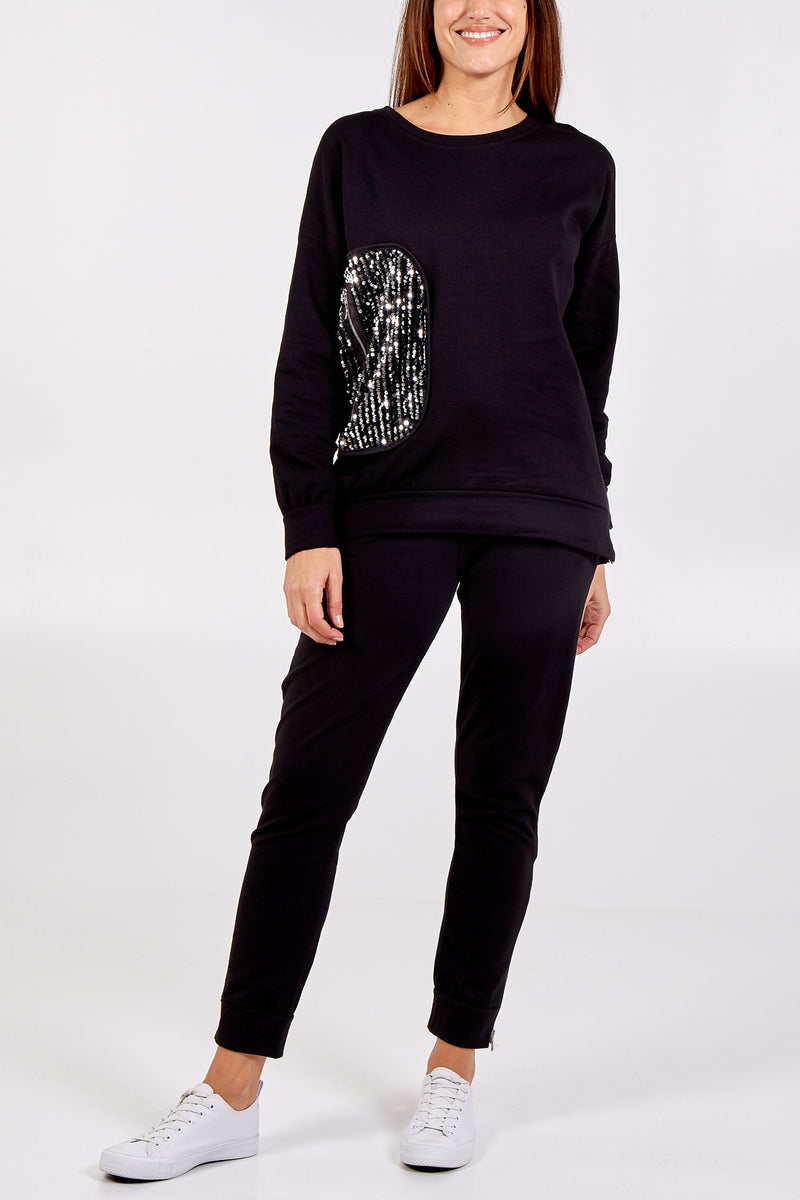 Sequin Patch and Zip Detailed Top with Zips on Trouser Set