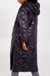 Slogan Long Padded Puffer Coat