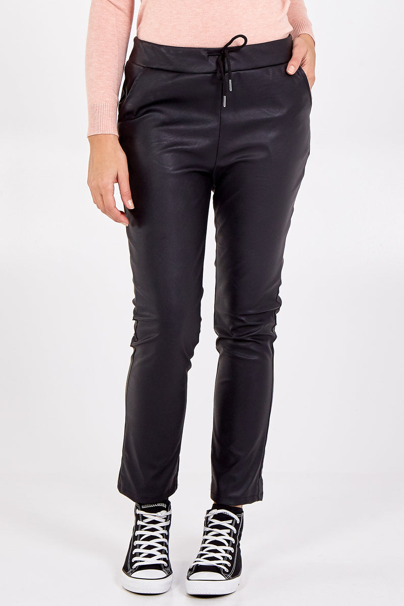 Faux leather Draw String Trousers