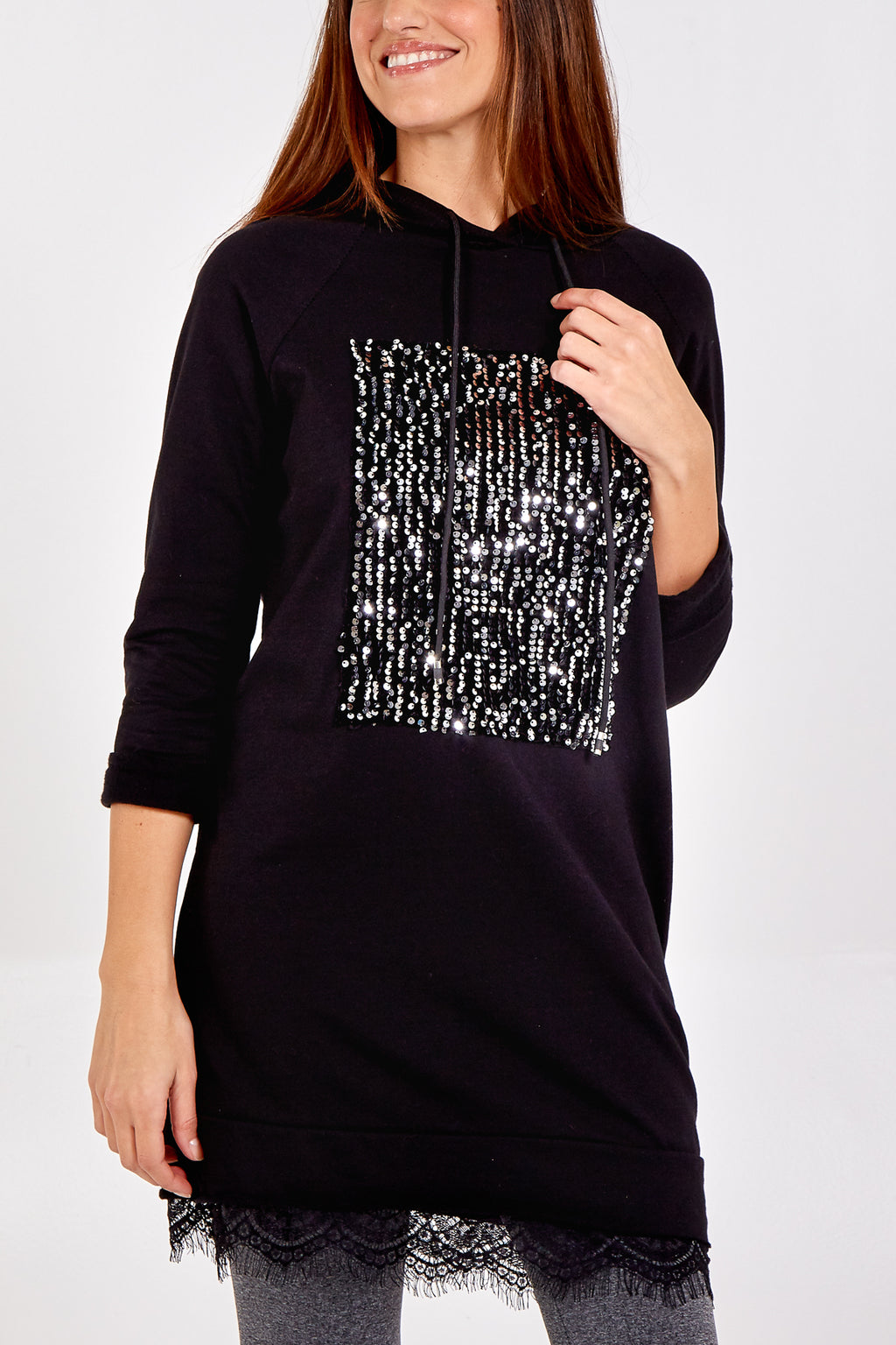 Sequin Sweatshirt With Lace Trim