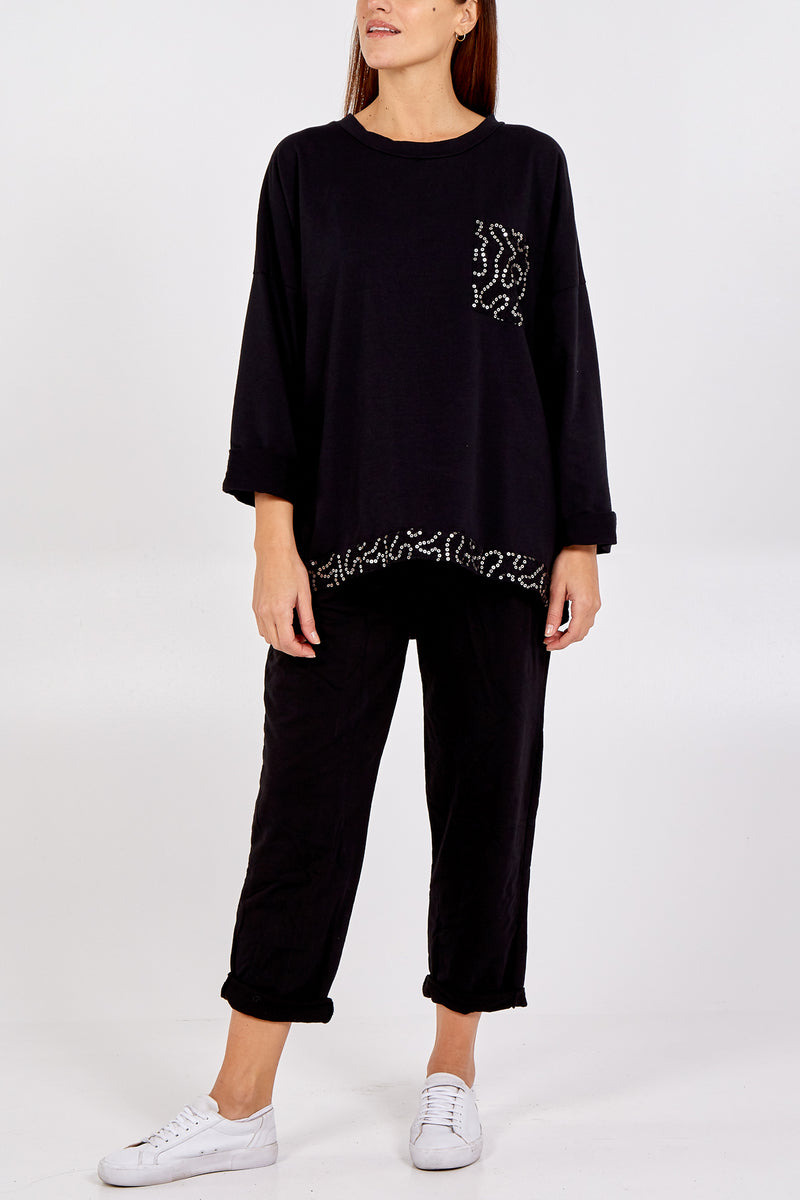 Sequin Patch Pocket Long Sleeve Lounge Set