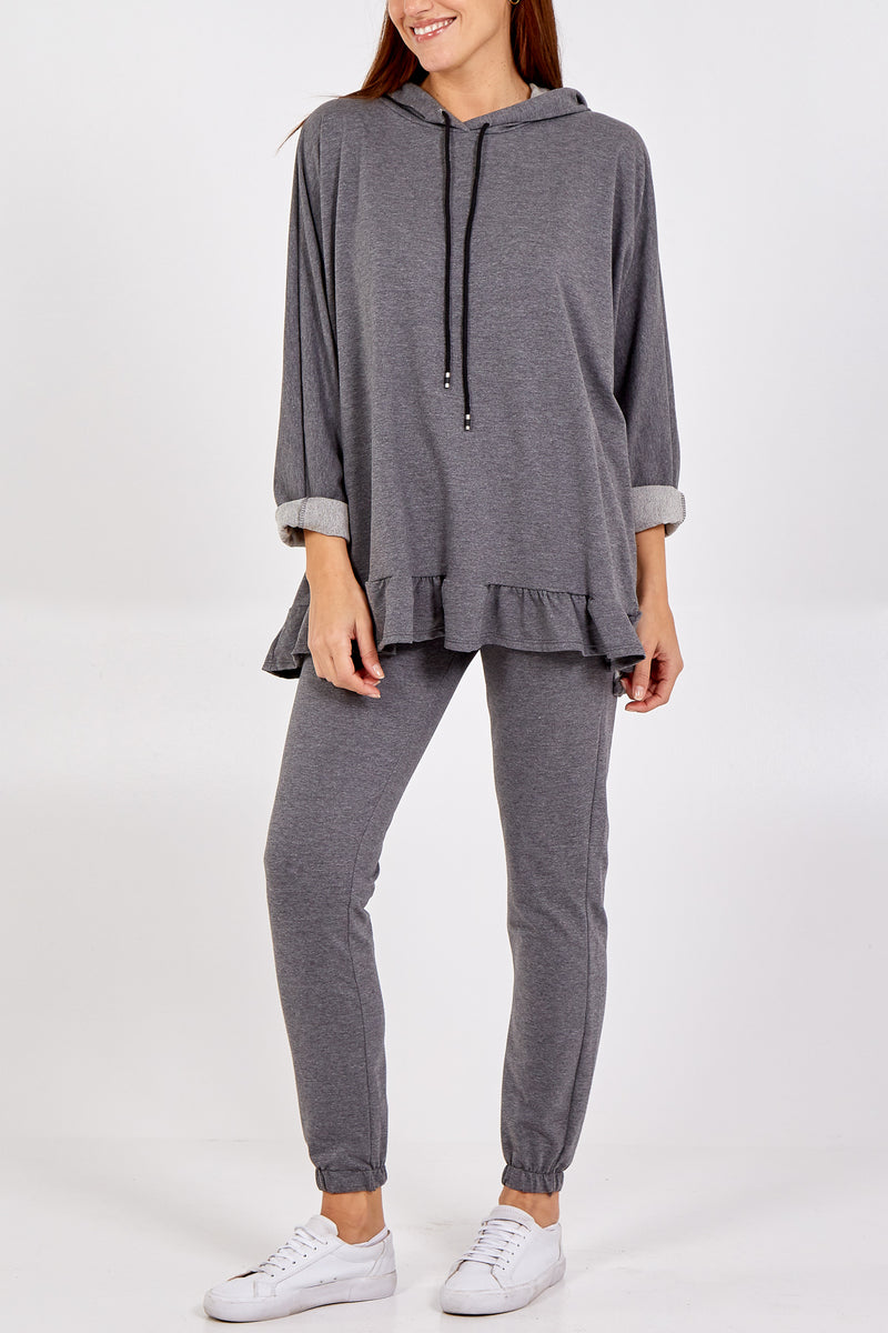 Frill Hem Hooded Sweatshirt and Jogger Lounge Set