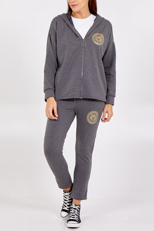 Gold Tiger Detail Zip Through Hoodie & Jogger Set