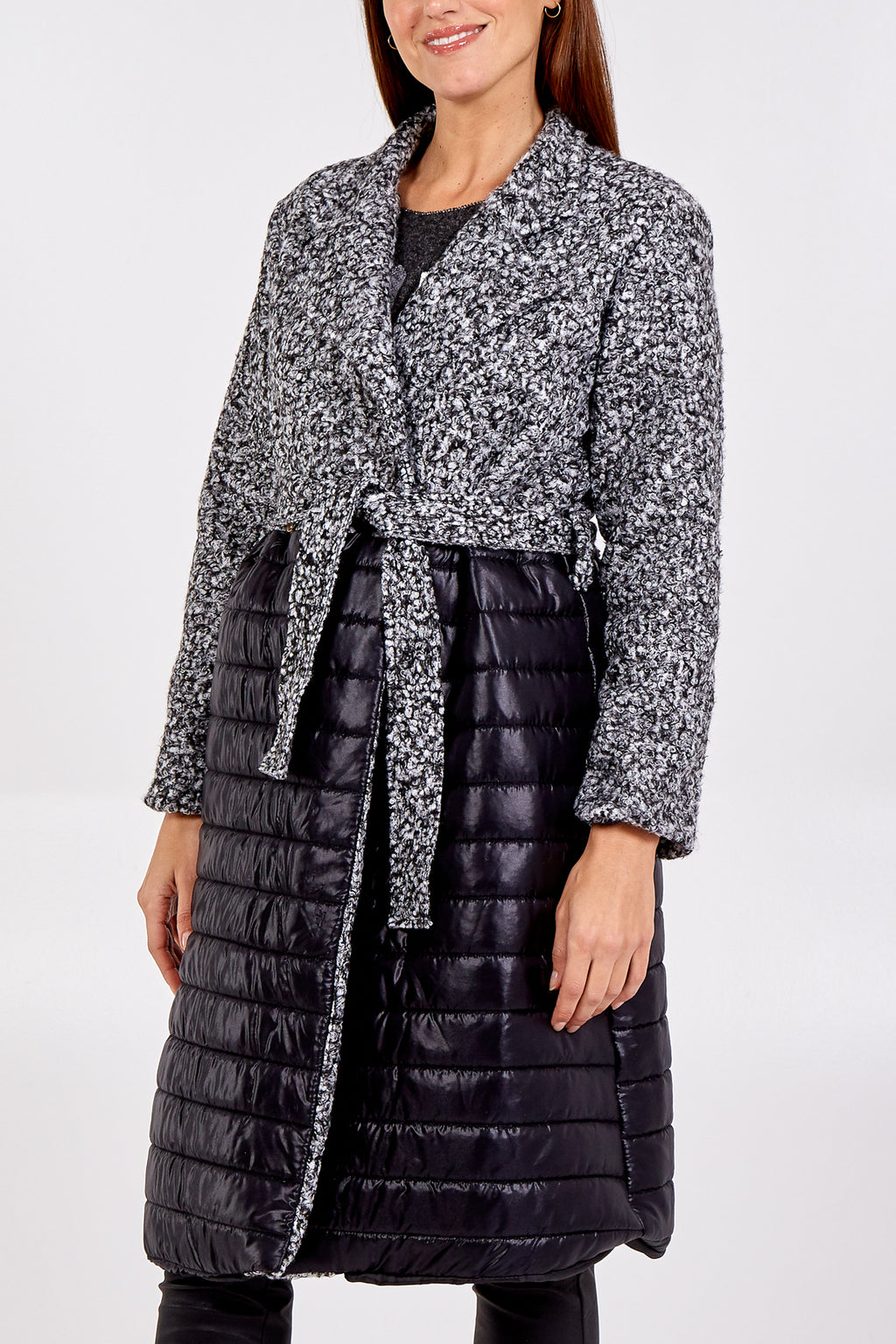 Bouclé/Padded Coat With Front Tie