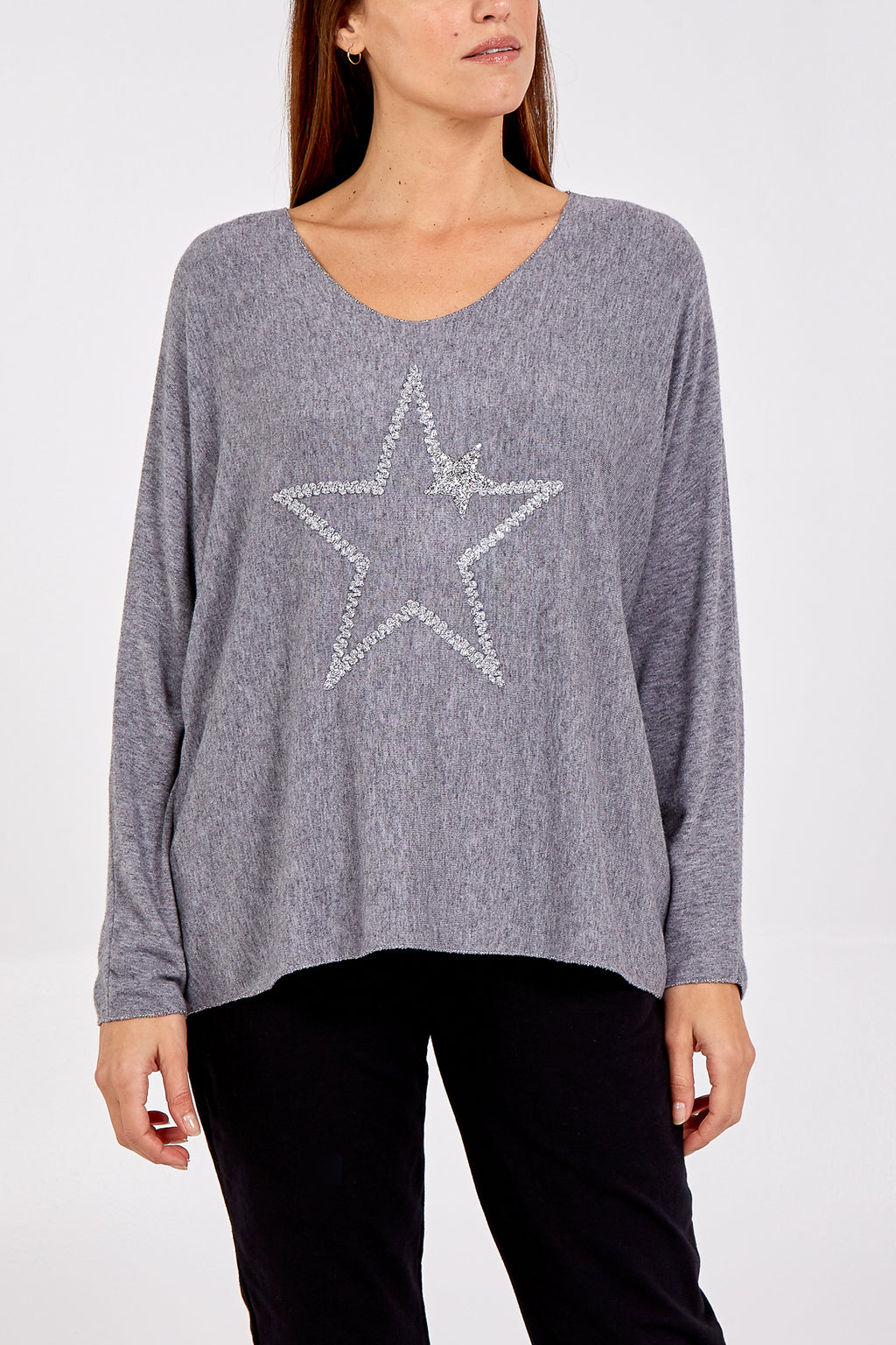Light Knit Long Sleeve Scoop Neck Star Top