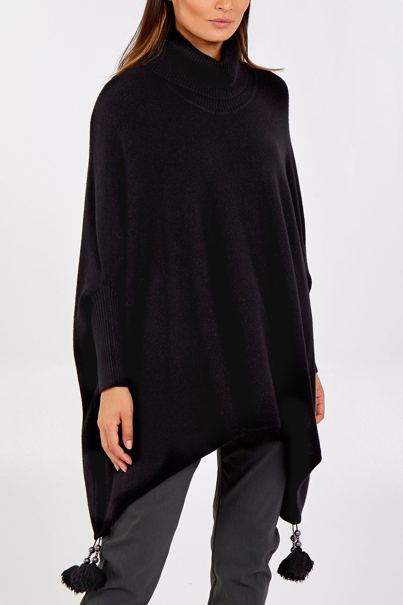 Roll Neck Tassel Poncho Style Jumper
