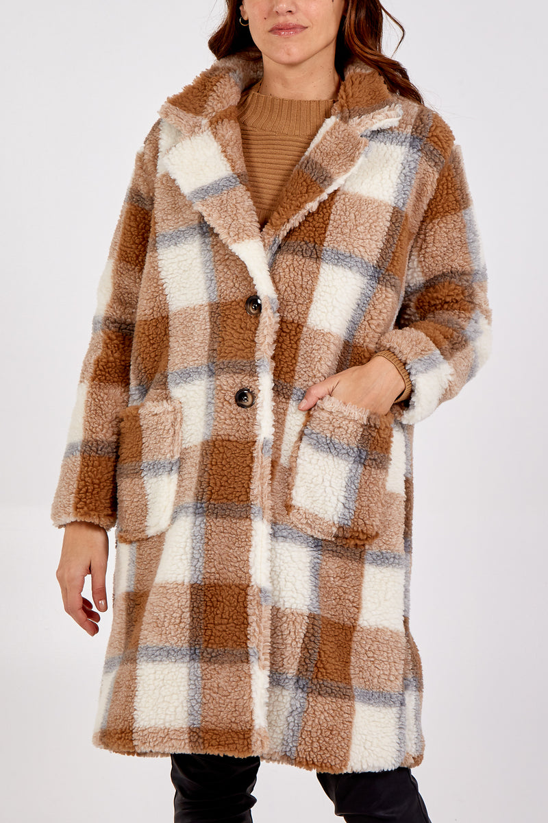 Check Teddy Faux Fur Button Through Coat