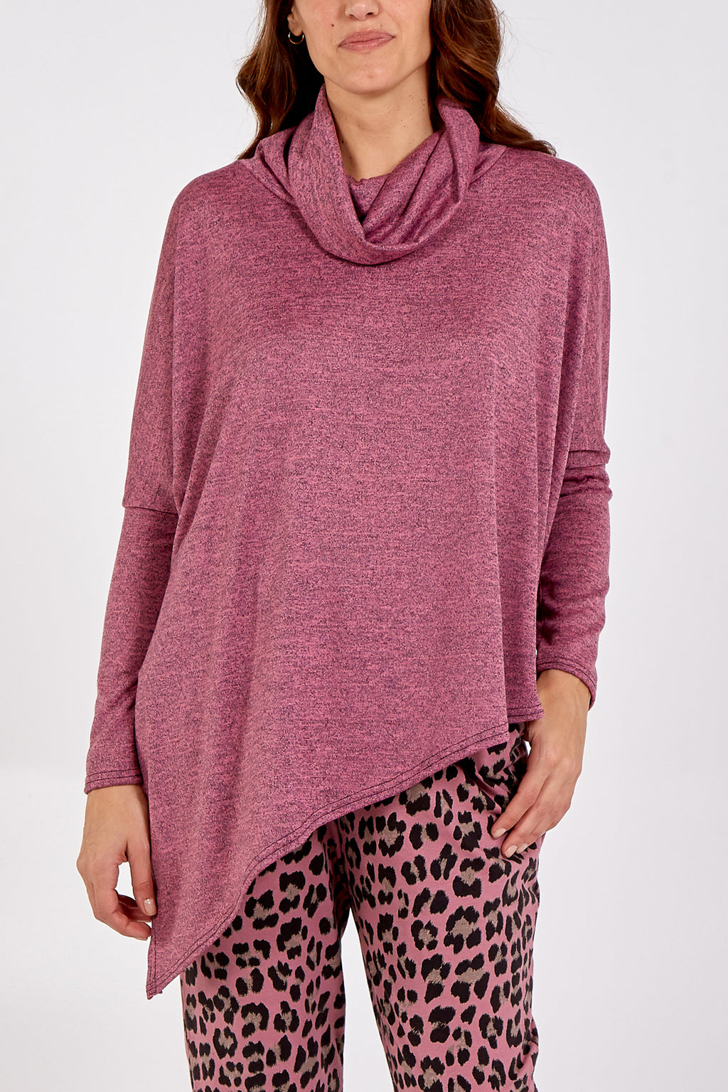 Melange Patterned Cowl Neck Asymmetric Top