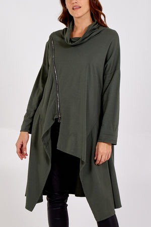 Cowl Neck Zip Detail Long Asymmetric Top