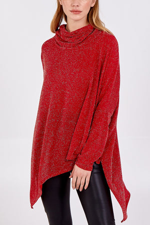Asymmetric Cowl Neck Glitter Long Sleeve Top