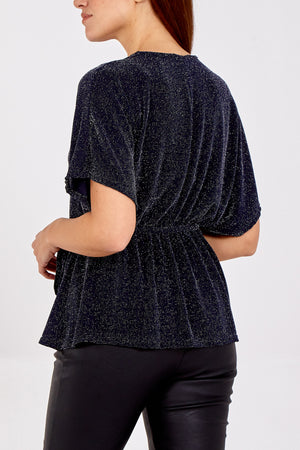 Mid Length Glitter Sleeve Tie Front Top