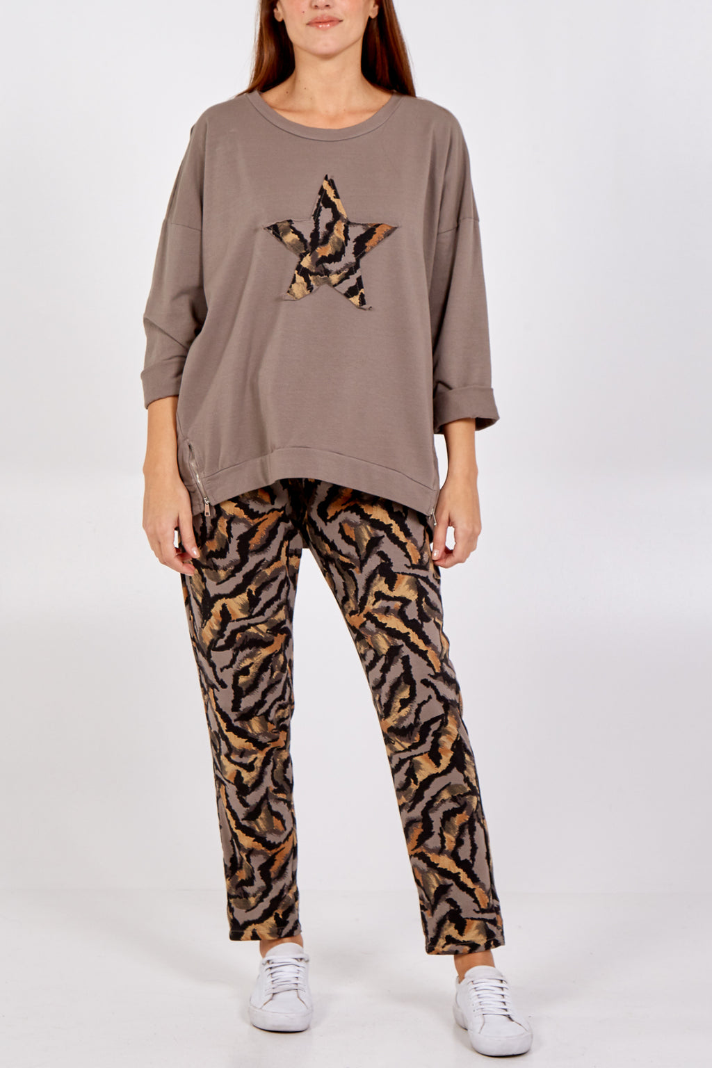 Tiger Print Star Lounge Wear Set