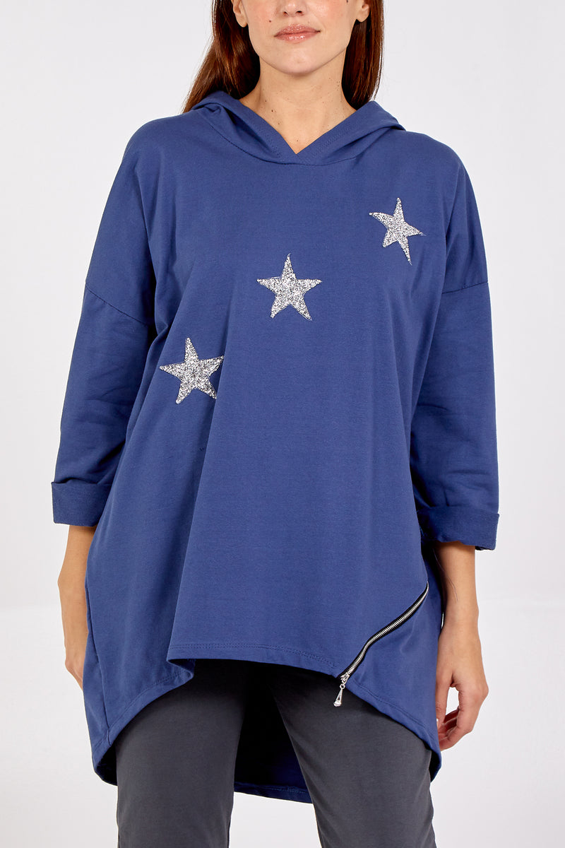 Hi-Low Glitter Star Sweatshirt With Side Zip
