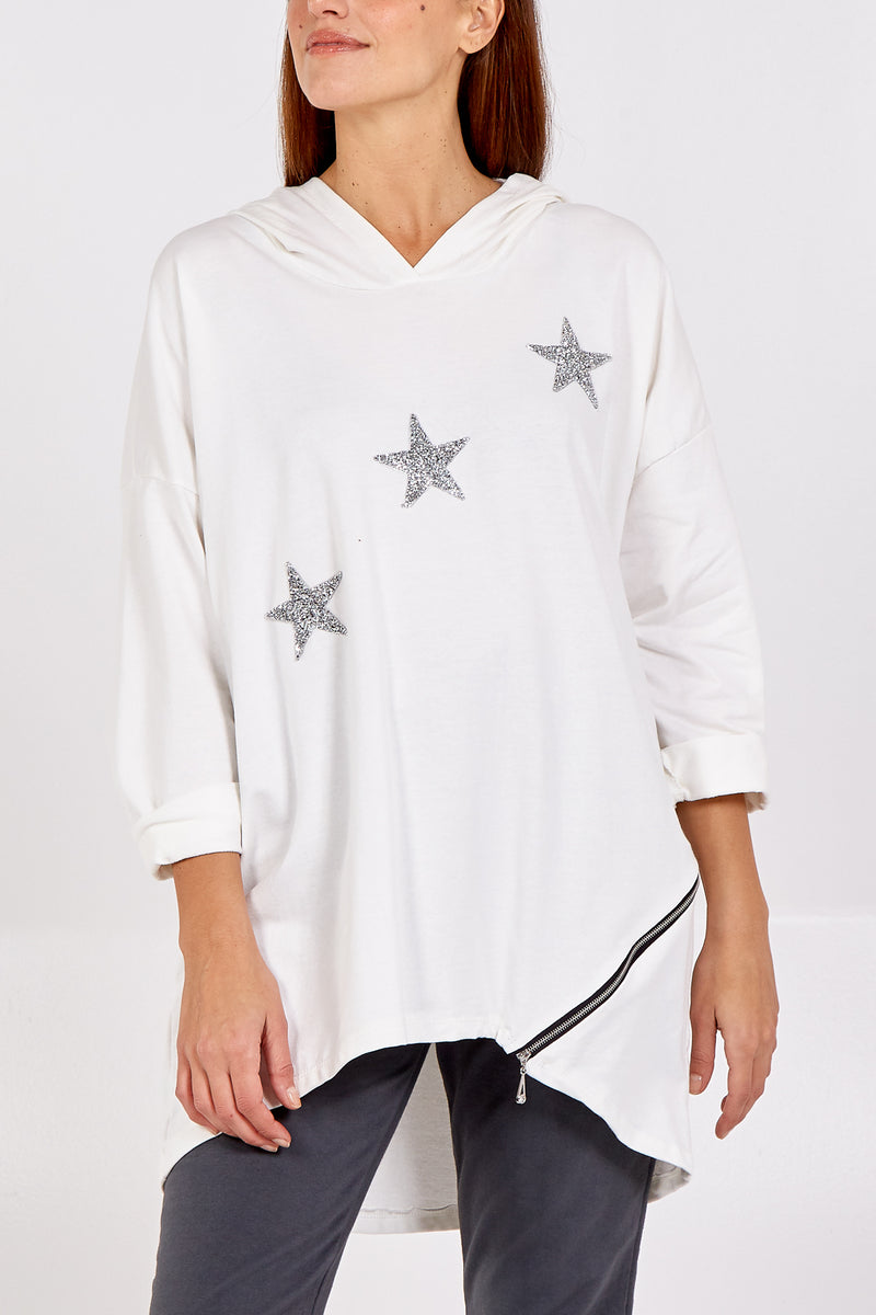 Sparkle Star High Low Zip Detail Sweatshirt