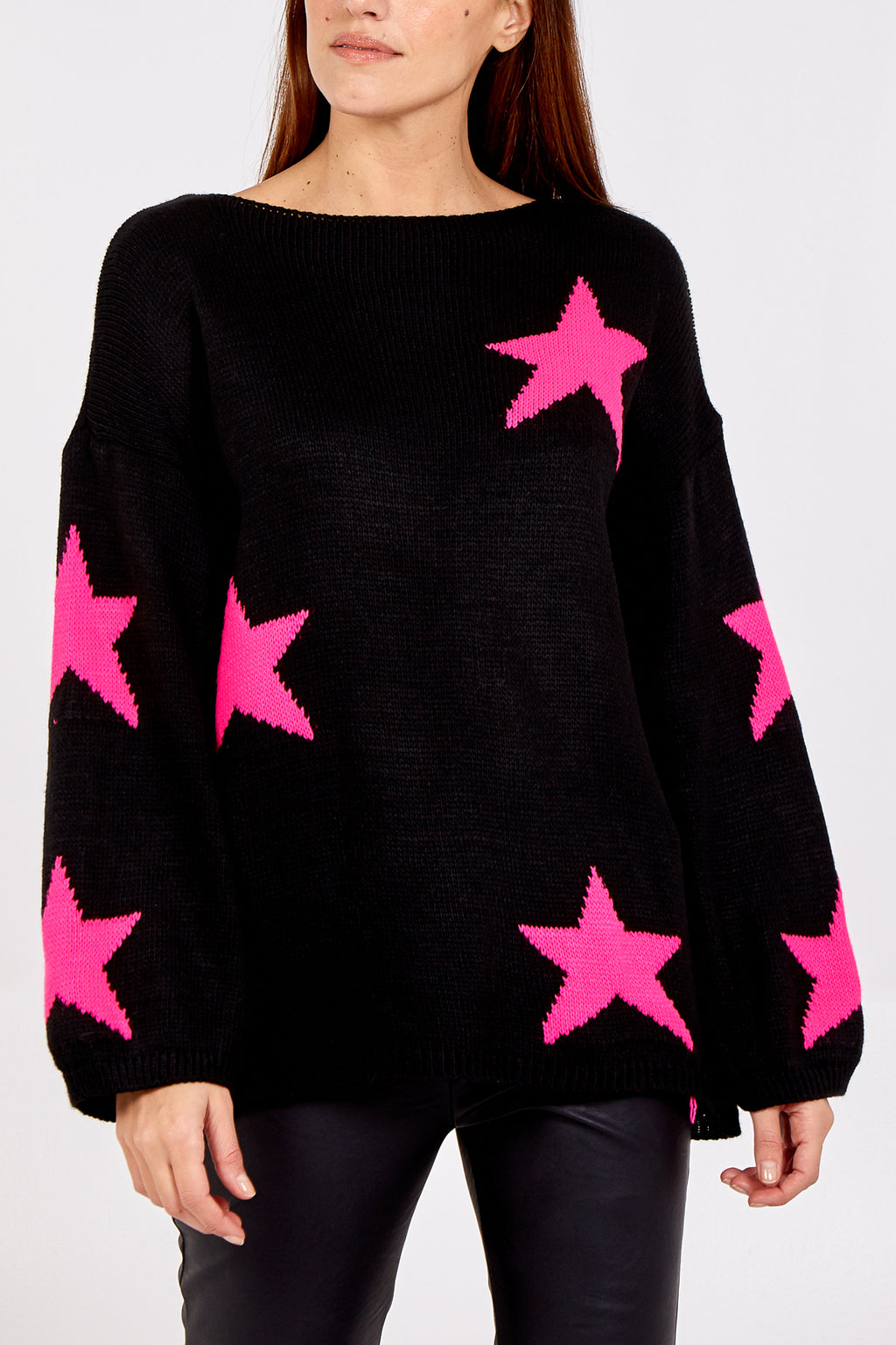 Slash Neck Wool Mix Star Jumper