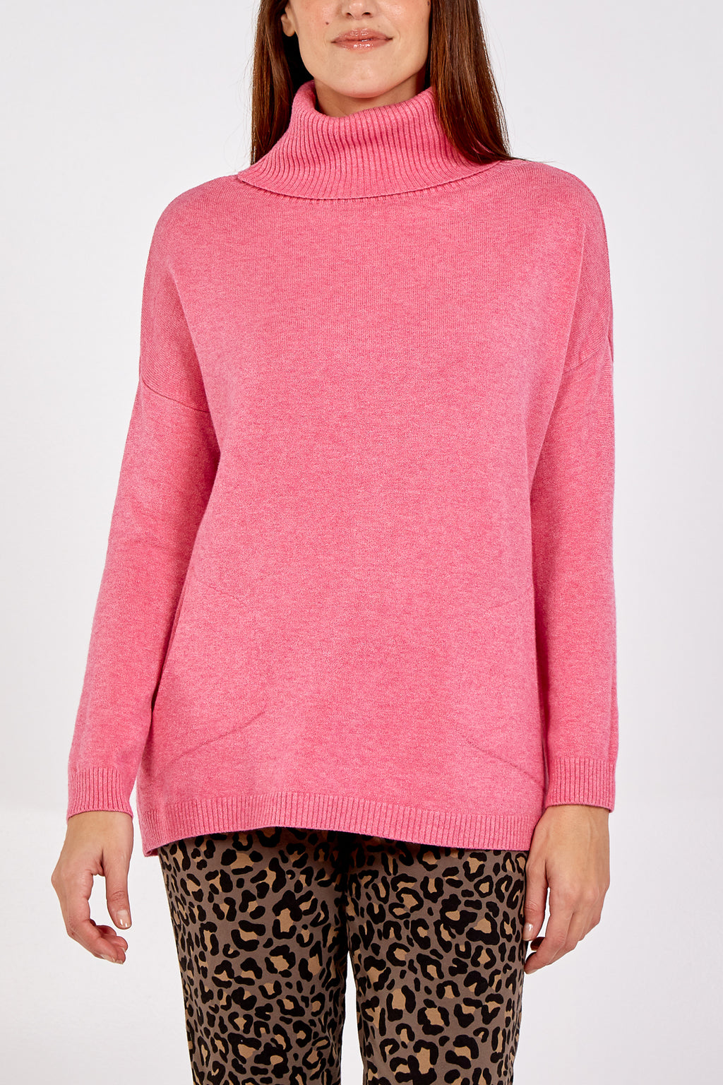 Roll Neck Supersoft Jumper With Pockets