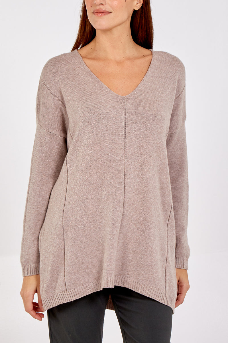 Super Soft Basic V-Neck Long Knitted Jumper