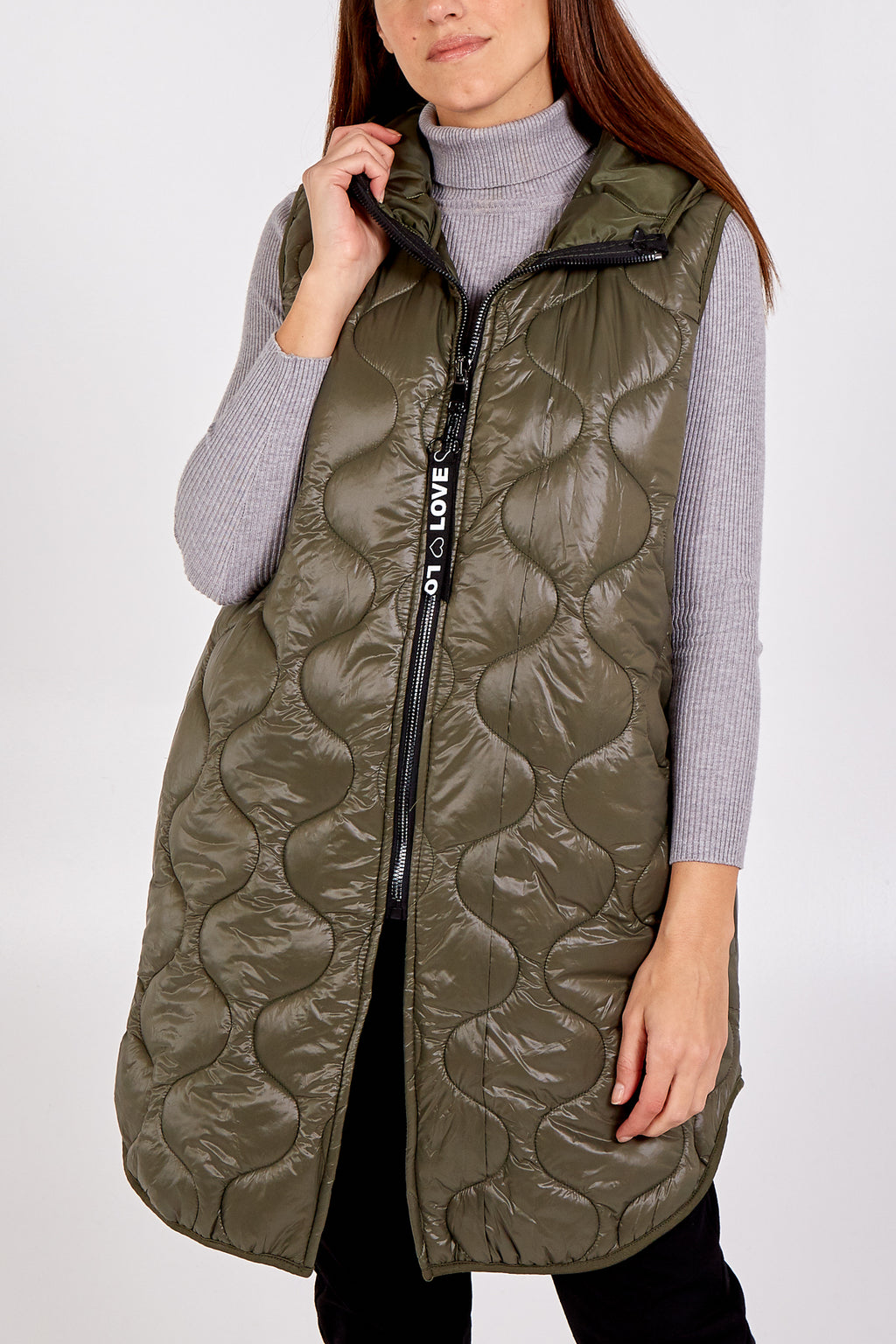 """Love"" Zip Up Sleeveless Hooded Puffer Coat"