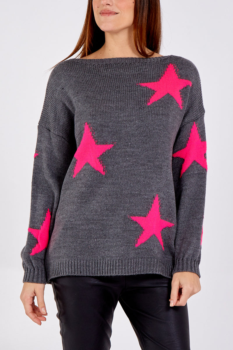 Slash Neck Knit Star Jumper