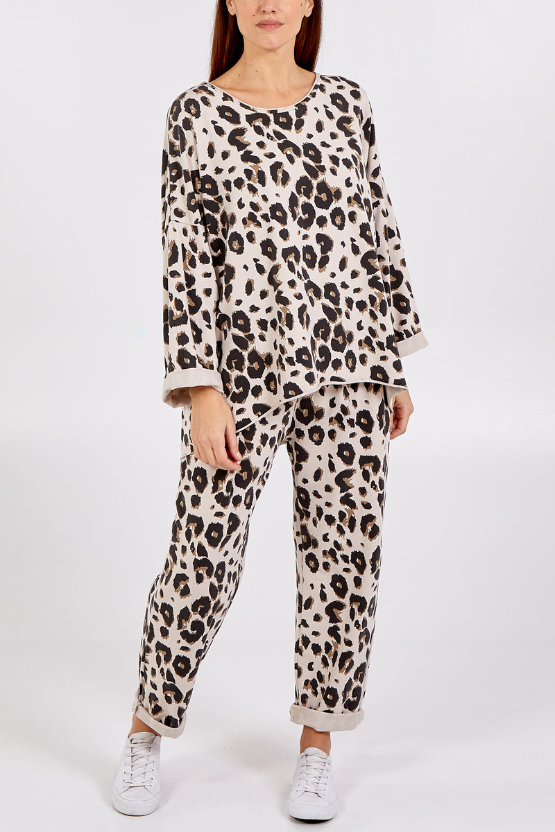 Oversized Leopard Print Scoop Neck Loungewear Set